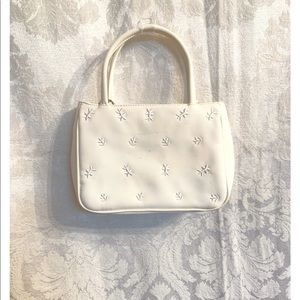 Vintage Amanda Smith white floral satchel